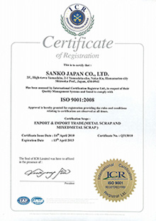 ISO 9001:2008 EXPORT AND IMPORT TRADE(METAL SCRAP AND MIXEDMETAL SCRAP)